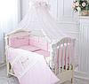 """Волшебный постельный набор в детскую кроватку для девочки """"Принцесса"""" (ткань сатин) розовый"""