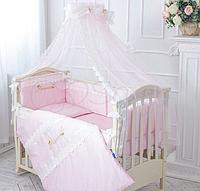 """Волшебный постельный набор в детскую кроватку для девочки """"Принцесса"""" (ткань сатин) розовый, фото 1"""