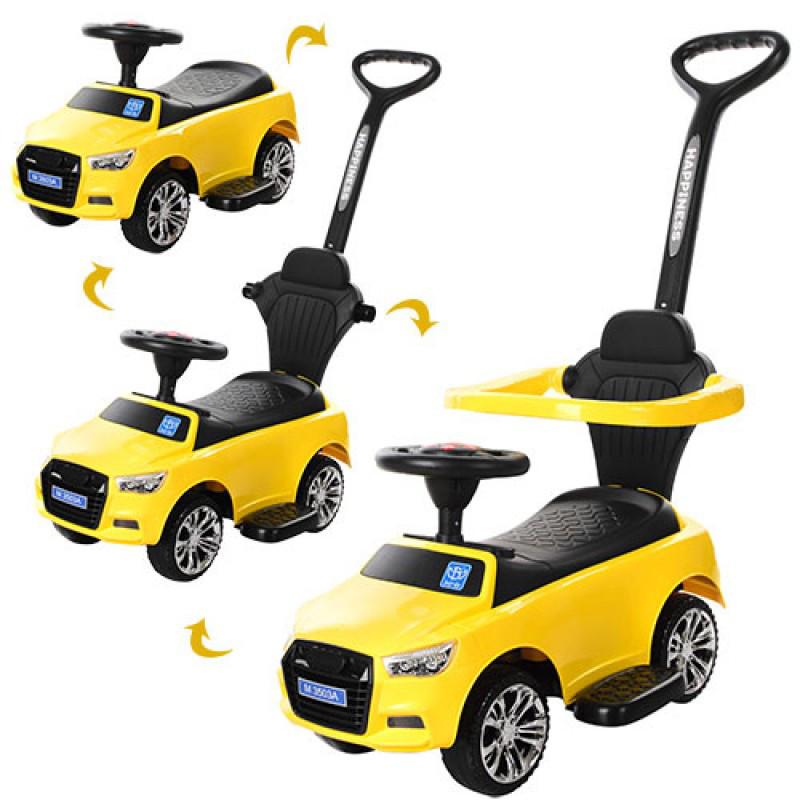 Каталка толокар Машина желтая вариант 2 с ручкой 2 в 1, подставка для ног, музыка, свет, Bambi M 3503A-6