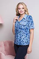 Летняя женская  блузка с рубашечным воротником больших размеров 52-62