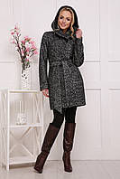 Женское пальто с капюшоном серого цвета