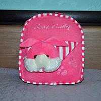 Детский плюшевый рюкзак для девочки с игрушкой зайчик, розовый, дошкольный