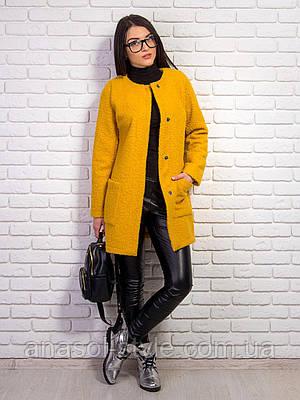 Пальто Вика букле демисезонное желтое