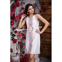 d0e959c442e Качественное хлопковое платье белого цвета с красивой вышивкой