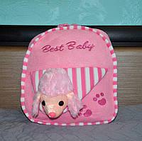 Плюшевый детский рюкзак для девочки, розовый, с игрушкой собачка пудель, дошкольный, в садик