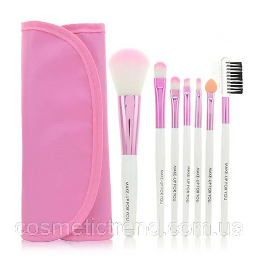 Набор профессиональных кистей для макияжа (7 предметов+чехол) Makeup Tool Brush Set pink (розовый)