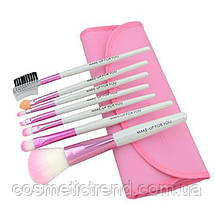 Набор профессиональных кистей для макияжа (7 предметов+чехол) Makeup Tool Brush Set pink (розовый), фото 2