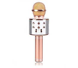 Беспроводной Караоке-микрофон с динамиком Bluetooth WS-858 Pink