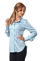 Классическая женская рубашка светло-голубого цвета