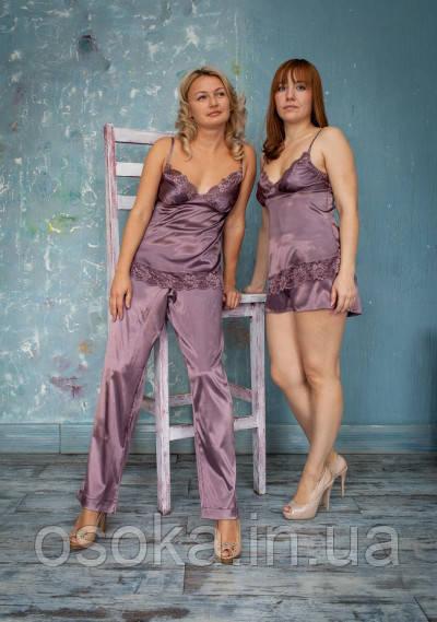 Пижама атласная с брюками Serenade 343 Слива