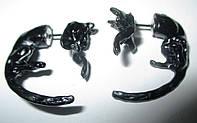 """Серьги-гвоздики """"Пантеры"""" с эмалью от Студии  www.LadyStyle.Biz, фото 1"""