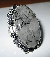 """Кольцо с турмалиновым кварцем волосатиком """"Шерл"""", размер  19 от студии LadyStyle.Biz, фото 1"""