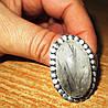 """Кольцо с турмалиновым кварцем волосатиком """"Земля"""", размер  19,2 от студии LadyStyle.Biz"""