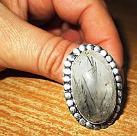 """Кольцо с турмалиновым кварцем волосатиком """"Земля"""", размер  19,2 от студии LadyStyle.Biz, фото 1"""