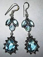 """Серебряные серьги с  голубым топазом  """"Лилия"""" от студии LadyStyle.Biz, фото 1"""