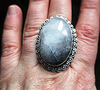 """Кольцо с турмалиновым кварцем волосатиком """"Мгла"""", размер  19,2 от студии LadyStyle.Biz, фото 1"""