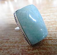 Прямоугольное кольцо с аквамарином , размер 18,5 от Студии  www.LadyStyle.Biz, фото 1