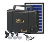 Портативный аккумулятор для туризма GDLITE GD-8006 (солнечная батарея, 3 светодиодные лампы, аккумулятор)