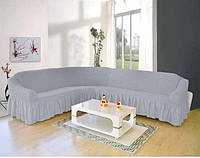 Чехол на угловой диван и одно кресло (светло серый) ТМ Demfirat Karven
