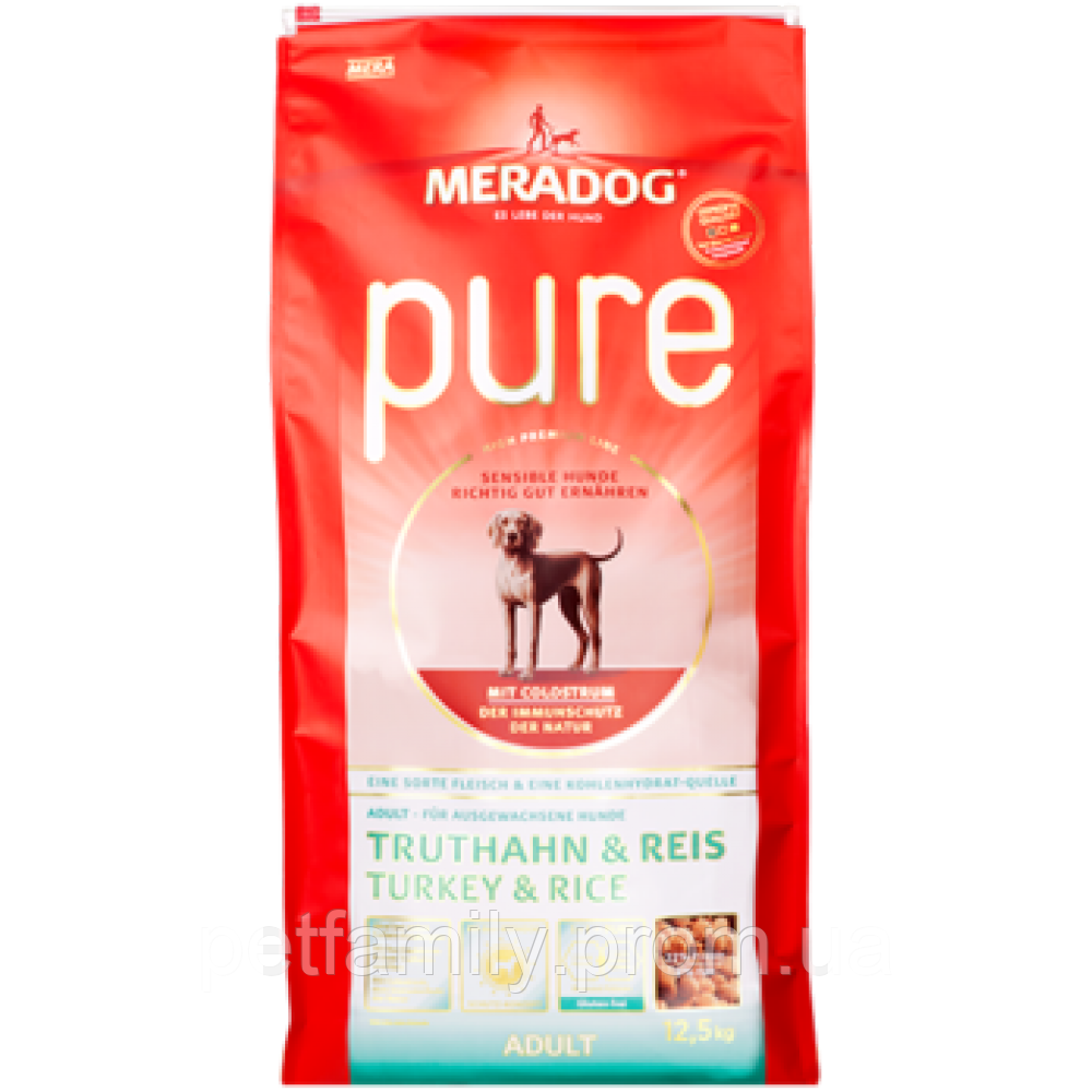 c3bd93b95e877c Сухой корм для собак MERADOG HIGH PREMIUM PURE - TURKEY AND RICE – индейка  с рисом . Упаковка 12.5 кг