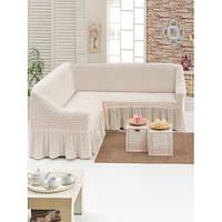 Чехол на угловой диван и одно кресло (белый)