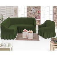 Чехол на угловой диван и одно кресло (зеленый) ТМ Demfirat Karven