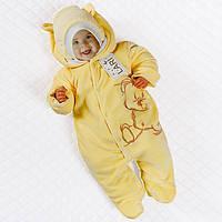 """Утепленный велюровый комбинезон для малышей """"мишка"""" (желтый) 56 Lari"""