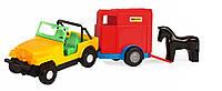 Игрушечная машинка авто-джип с прицепом и лошадкой, Wader, желтый джип и синий прицеп и лошадка (39007-6)