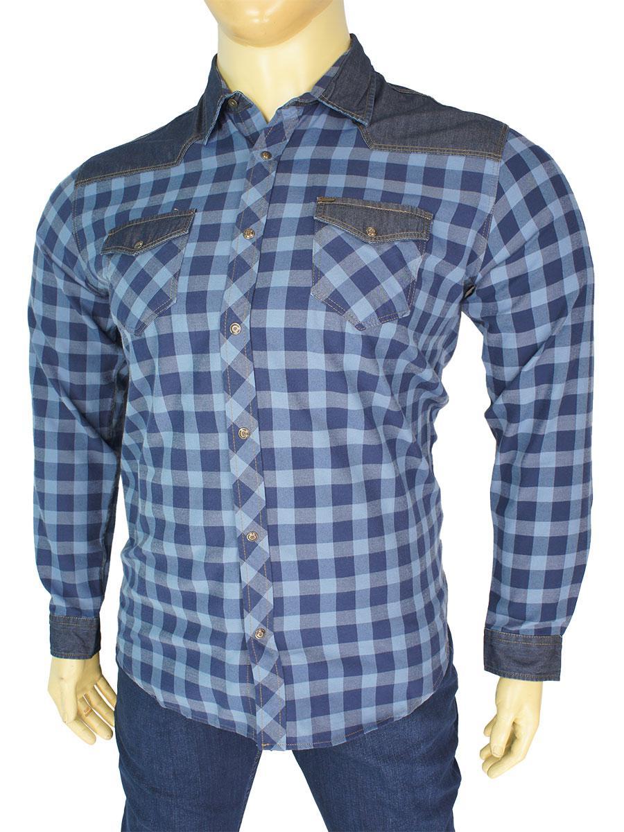 Стильная мужская рубашка Cordial СО1442 В в синем цвете