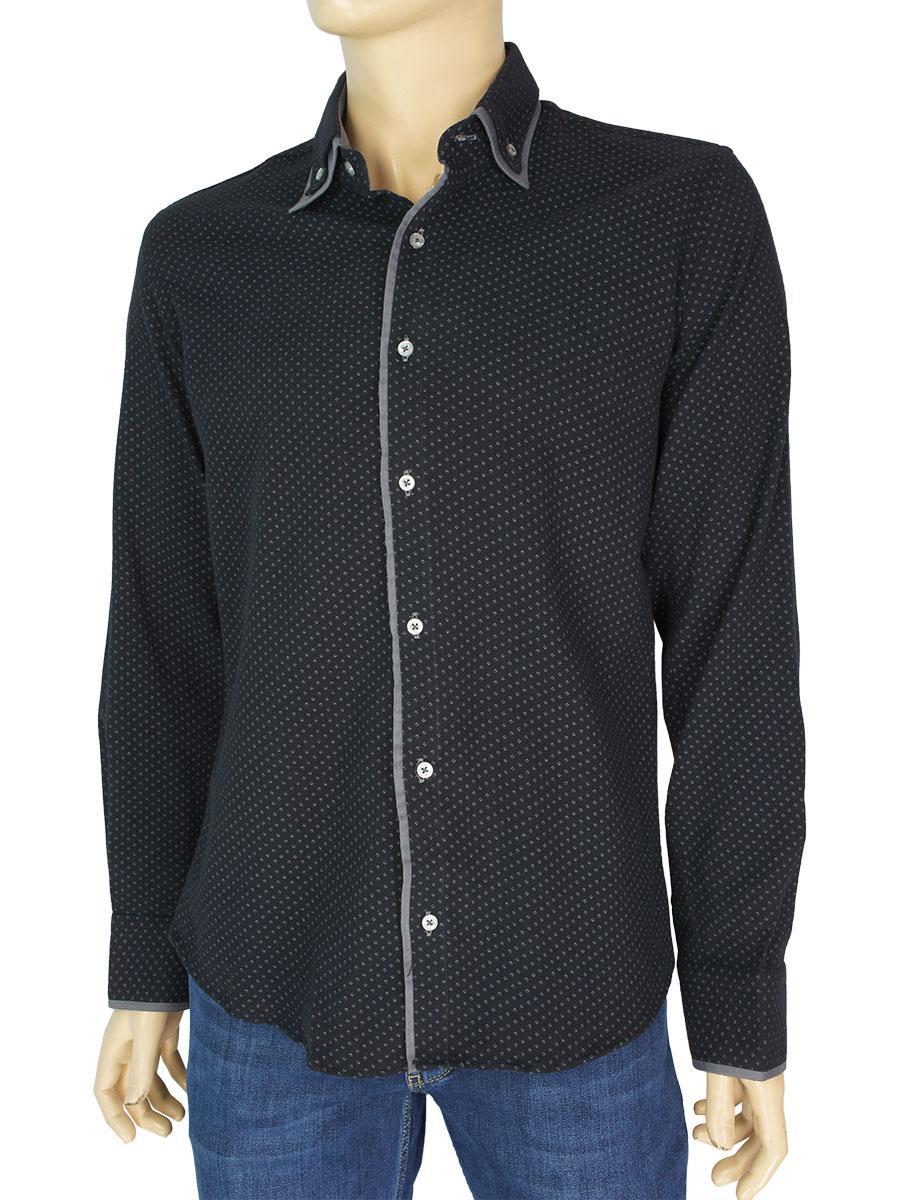 Черная мужская рубашка Negredo 1064#05 Slim в мелкий узор