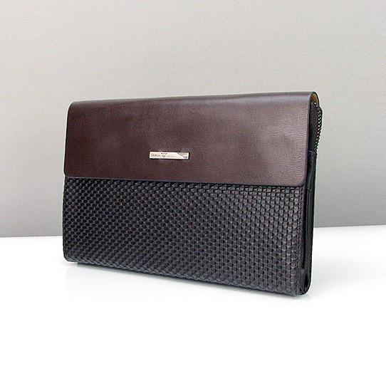 Клатч малый кожаный мужской коричневый Armani 3511-1