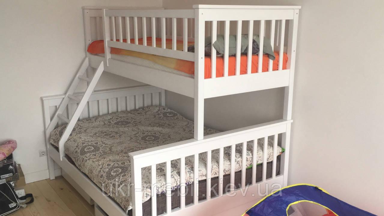 Двухъярусная трехспальная кровать Рита из дерева, Орион