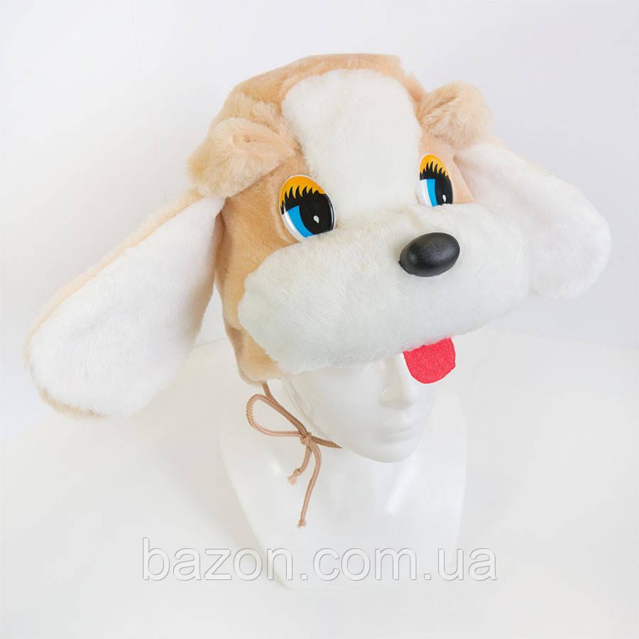 Детская маскарадная шапочка Собака бежевая
