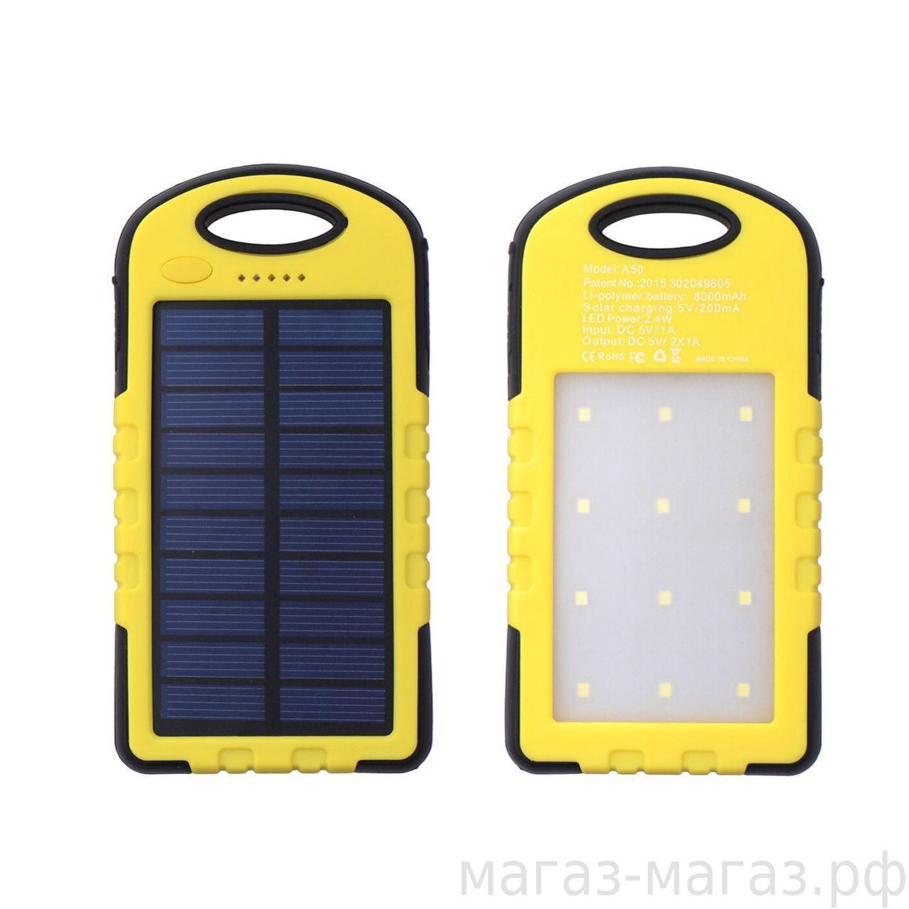 Водонепроницаемый Power Bank 10800 мА  Солнечная батарея и Лампа 12 LE