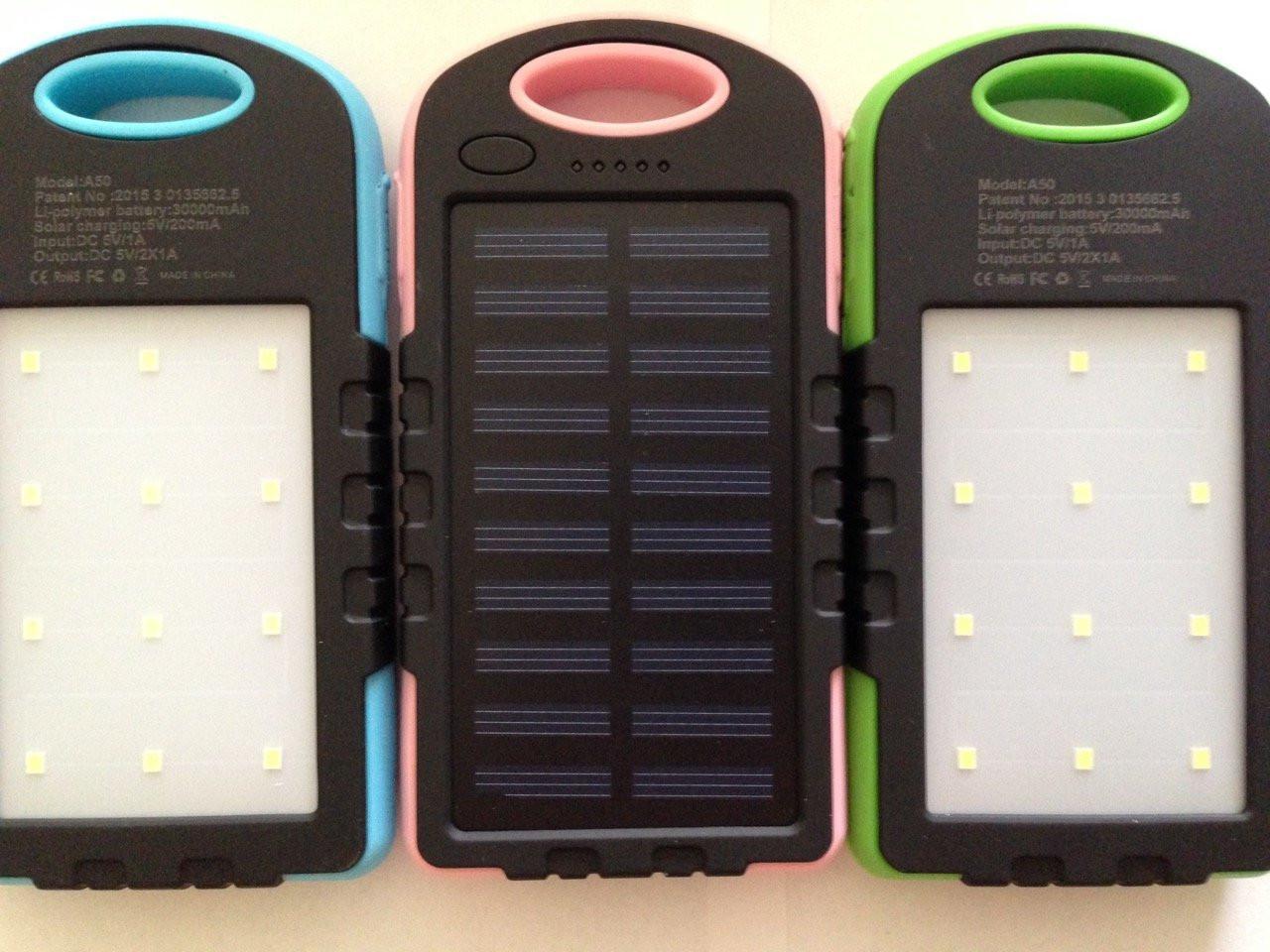 Водонепроницаемый Power Bank 30000 мА Солнечная батарея и Лампа 12 LED