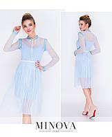 Красивое женское платье №205-голубой