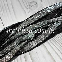 Эластичная тесьма( резинка) с люрексом, 10 мм,  цвет серебро на черном фоне