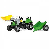 Трактор на педалях с прицепом и ковшом Deutz-Fahr Kid Rolly Toys 023196