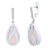 Серебряные серьги-подвески Жасмин с розовым кварцем и фианитами 000066037