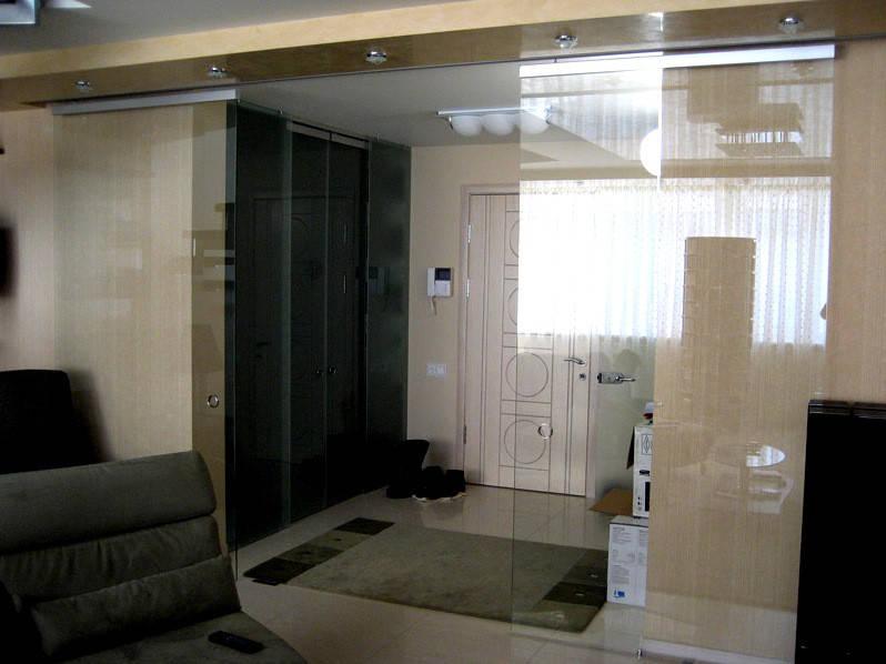 21 Раздвижные двери из прозрачного стекла - Стеклянная раздвижная группа - Раздвижная перегородка из стекла