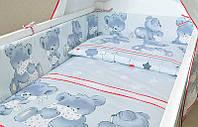 Простынь хлопок детская на резинке -Мишки с подушкой