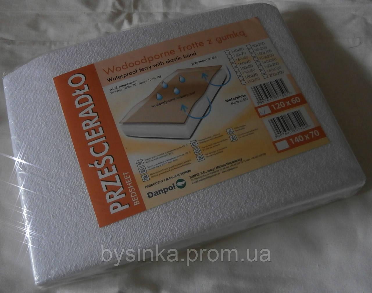 Антибактериальная, непромокаемая простынь на резинке для детской кроватки 120*60 см Данпол