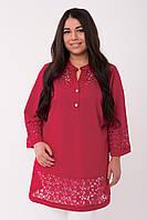 Женская нарядная туника с ажурным объемным кружевом с 54 по 62 размер, фото 1