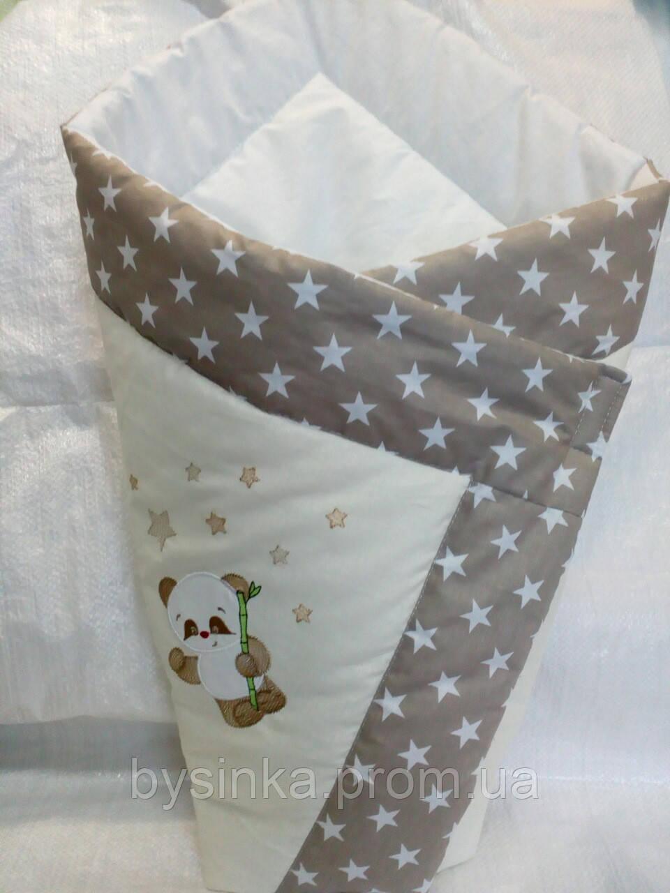 """Конверт-плед-одеяло на выписку новорожденного """"Панда"""""""