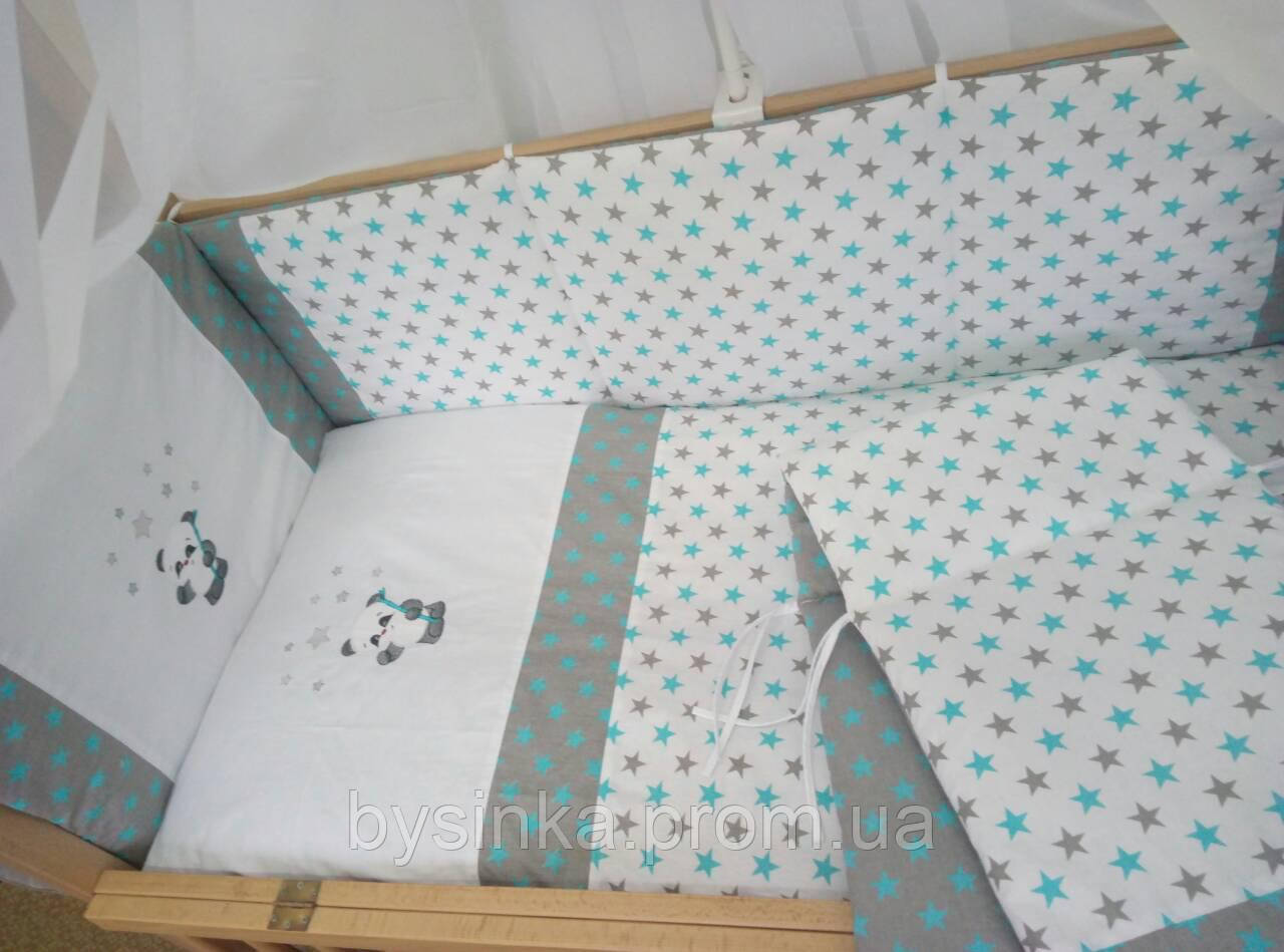 """Детское постельное белье в кроватку """"Вышивка Панда"""""""