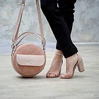 Круглая модная женская сумка из натуральной кожи и замши в любом цвете.