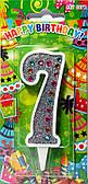 """Свічки-цифри """"Срібло+стрази"""" 7"""