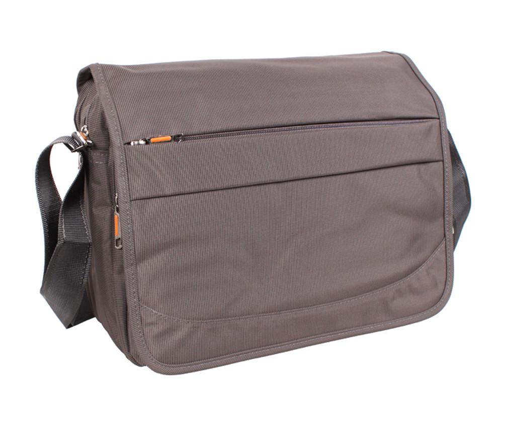 Горизонтальная мужская тканевая сумка формата А4 серо-коричневая NL831