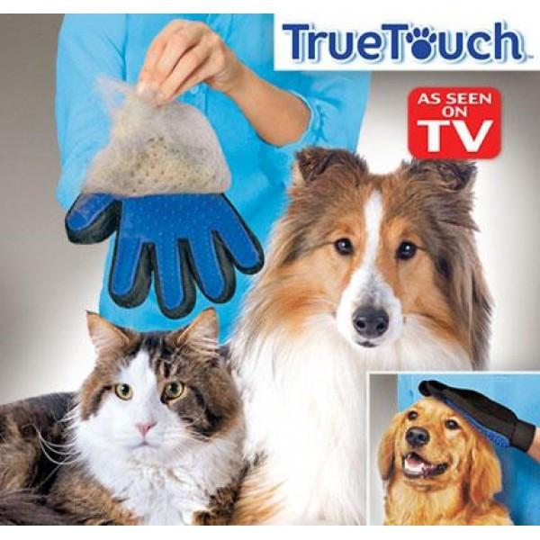 Перчатка из TVрекламы для удаления расчёсывания шерсти Тру тач для вычесывания шерсти кошек и собак True Touch 3
