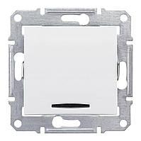 Выключатель с подсветкой 2-пол. Белый Sedna Schneider, SDN0201121